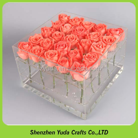 clear Waterproof acrylic flower gift boxes plexiglass rose box