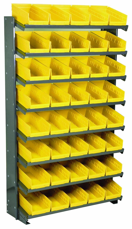 Akro-Mils APRS130Y Single Sided Pick Rack with 40 30130 Yellow Shelf Bins