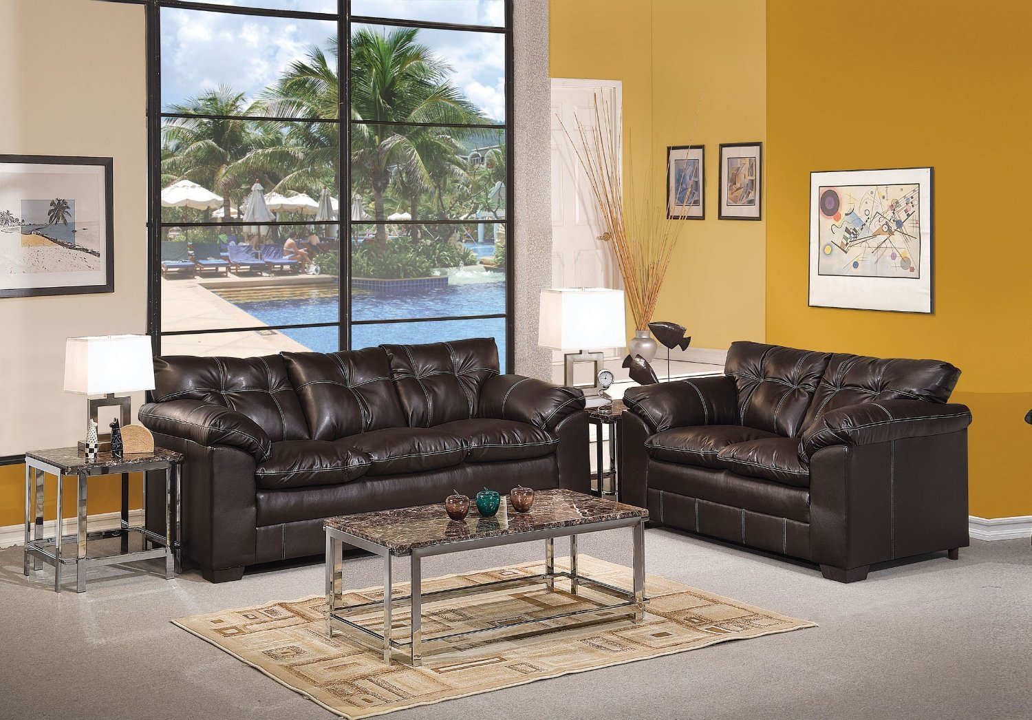 Get Quotations · 1PerfectChoice Hayley 2Pcs Premier Onyx Bonded Leather Sofa  Set Loveseat