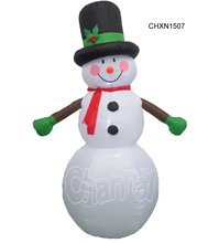 Christmas smiling inflatable snowman with red scarf and top hat