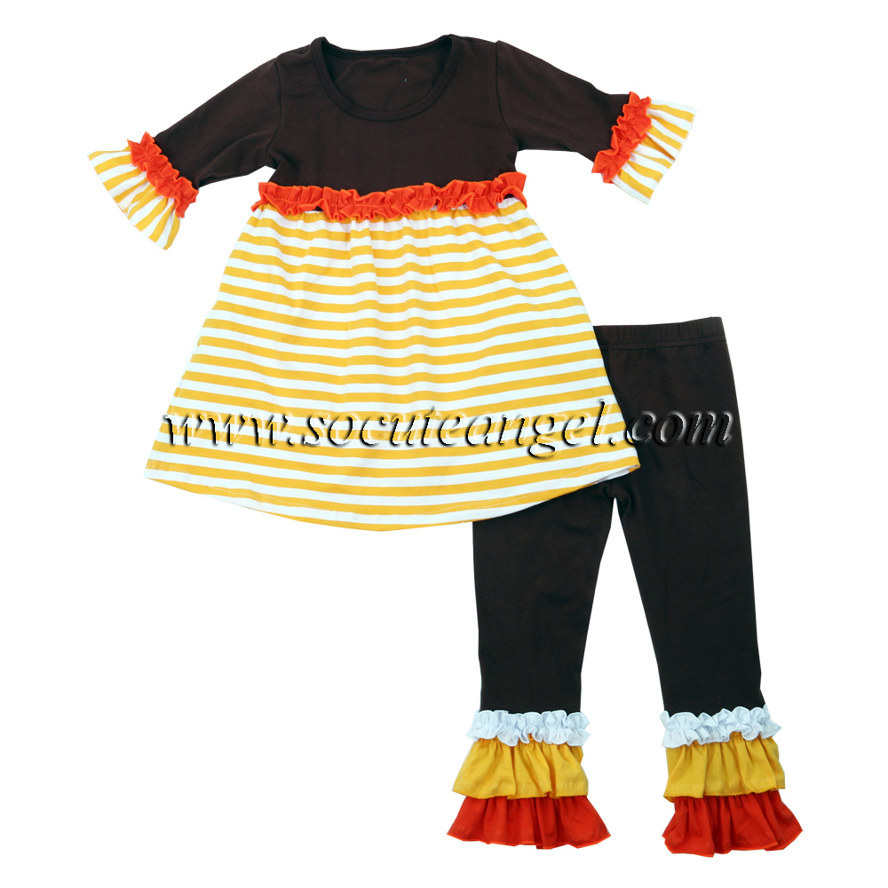 Newest bulk Toddler knit clothing children boutique strip clothes dresses top baby girl clothes