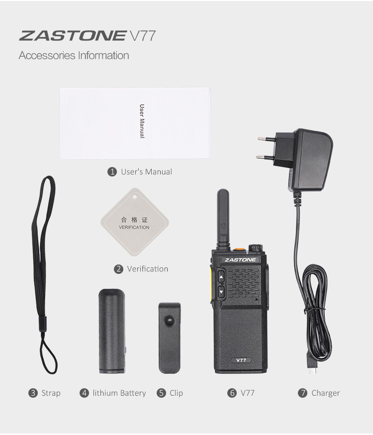 NEW fashion design ZASTONE V77 portable high low power uhf 3w 16ch mini walkie talkie two way radio for sale philippines