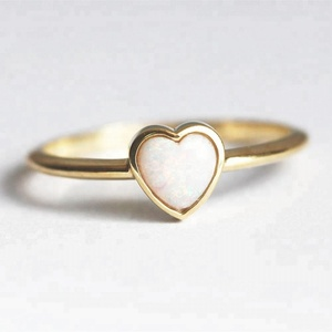 Heart shaped Opal Ring Gold Plated Sterling Silver Dainty Rings Jewelry Cute Birthday Gift for Ladies