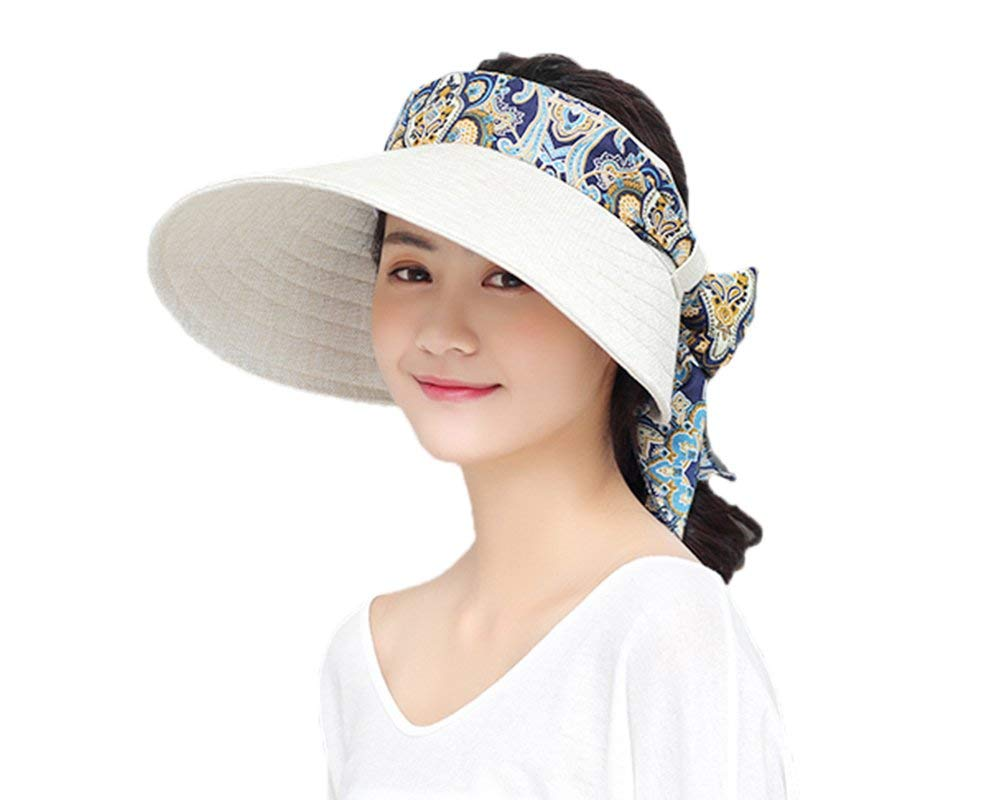 JINTN New Fashion Women Large Brim Sun Visor Cap Floral Outdoor Fishing Hat  UV Protection Caps 012bec7686b8