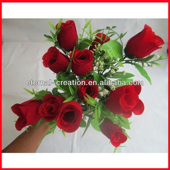 Brautstrauss Rot Kunstliche Blumenstrausse Rose Blume Fur Hochzeit
