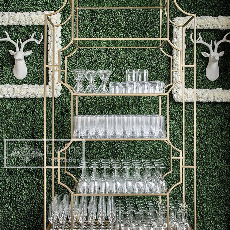 durable stainless steel frame tempered glass bar shelf decoration