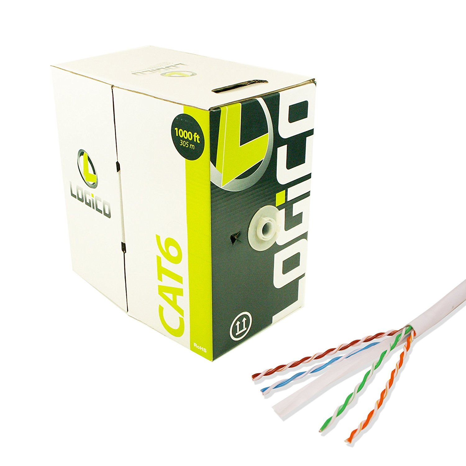 Cat6 1000ft Utp Solid White Network Ethernet Cable Bulk