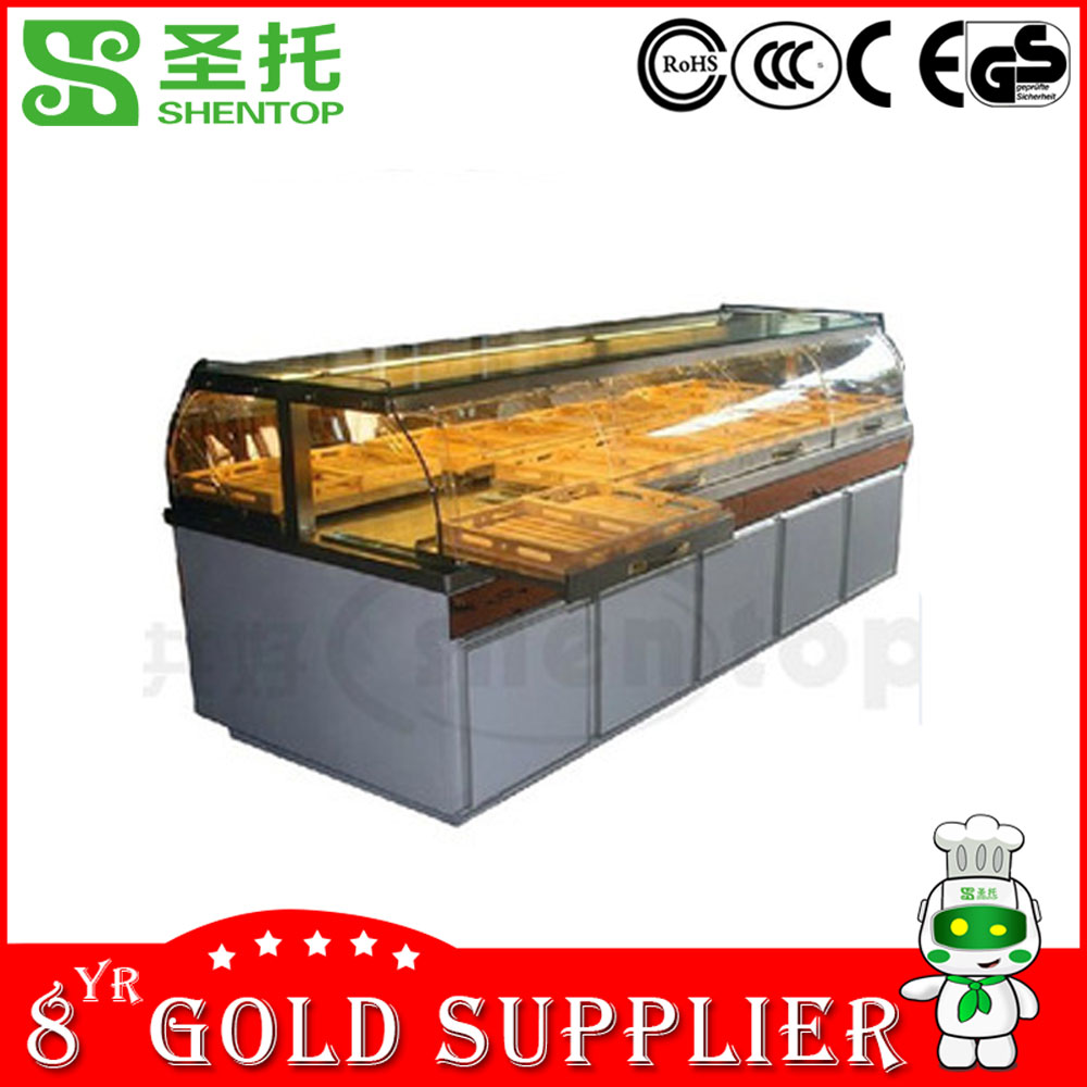 Shentop STPZ-A03125 electric glass bread display showcase for bread and pastry