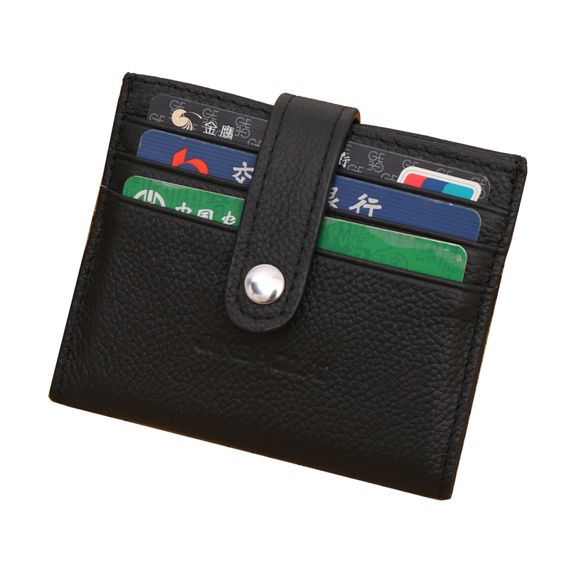 Hasp Business Card Holder Genuine Leather Solid Credit Card Wallet For Unisex Designer Famous Brand Coin purse porte carte
