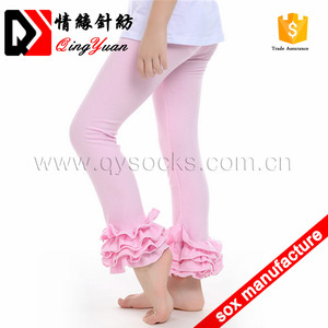 Custom size cotton baby kids ruffle pants tight girls icing leggings for wholesale