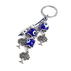 XUSHI Sliver Metal tree blue evil eye Pendant Keychain key19S036