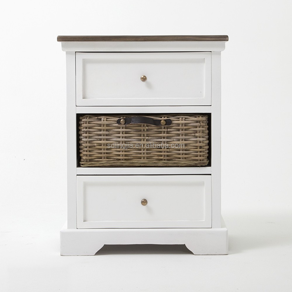 White Wicker Drawer Unit Wooden Cabinet Acrylic Makeup Organizer ...