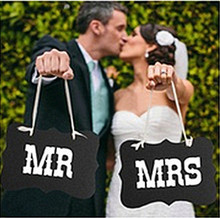 DIY Black Mr Mrs Paper Board+Ribbon Sign Photo Booth Props Wedding decoration Party Favor photocall for weddings