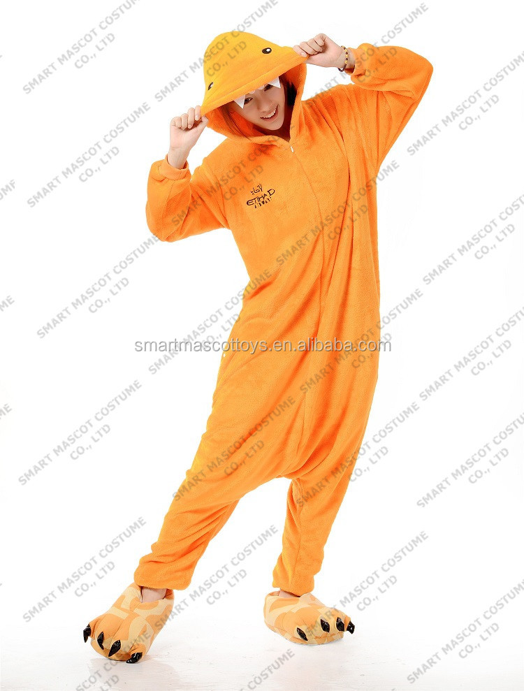 Warm thick flannel orange monster onesie one piece pajamas wholesale only adult orange monster one piece pajamas