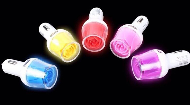 Led Rose Double Usb Car Charger For Mobile Phone
