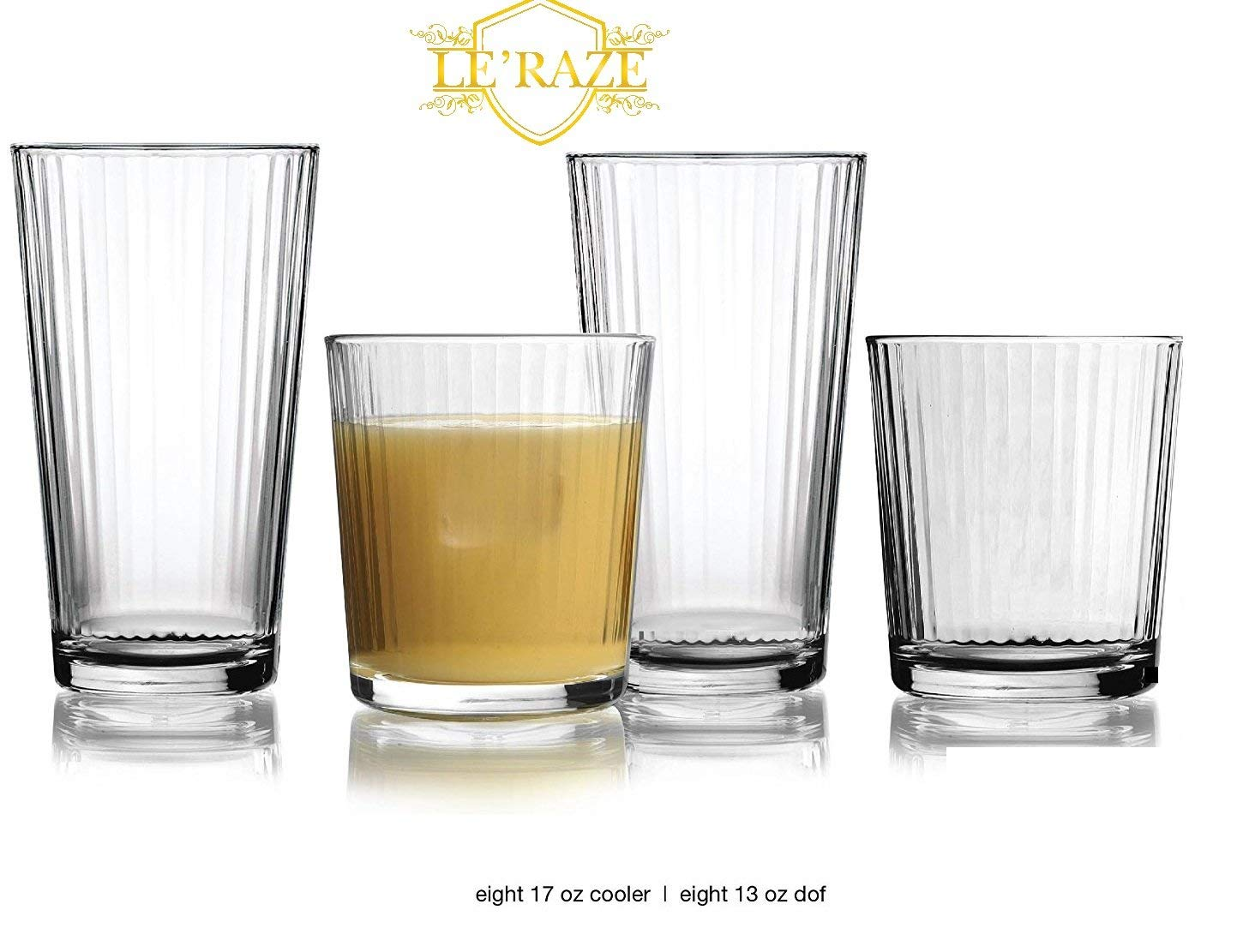 Le'raze Everyday 16-piece Glass Drinkware Combination Set, 8-13 ounce Drinking Glasses & 8-17 ounce Rocks Glasses, Lead-Free,