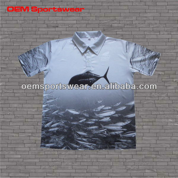 Mens polo sports sublimated short sleeve vented fishing shirts