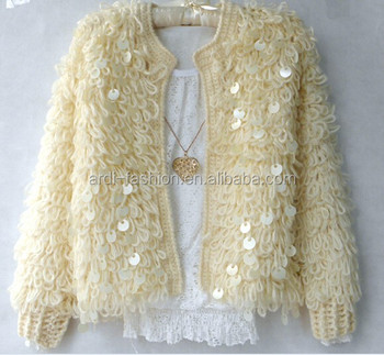 2015 Fancy Stylish Sequin Beaded Ladies Loppy Loose Crochet Sweater