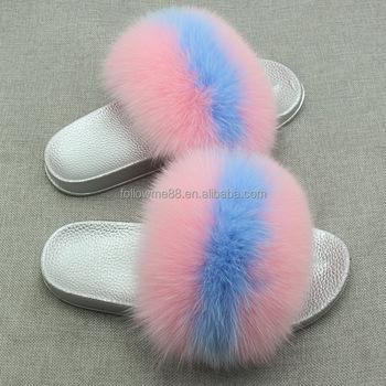 a5a976162 Girls Pink Beach Slipper Real Fur Slippers for SALE  Women Fox Fur Slides