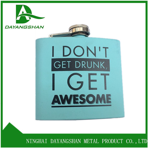 Portable Various Hip Flask With SGS FDA Soft Silk Blue Stainless Steel Flasks Liquor