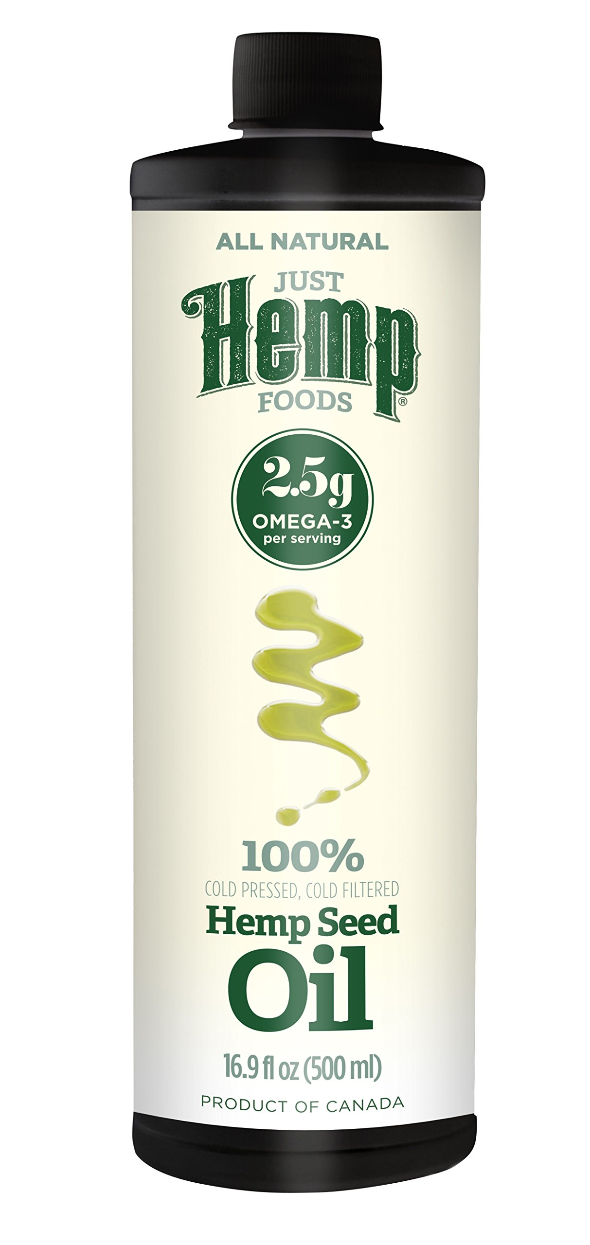 Just Hemp Foods 100% Cold Pressed, Cold Filtered Hemp Seed Oil (2 x 17 fl.oz.)