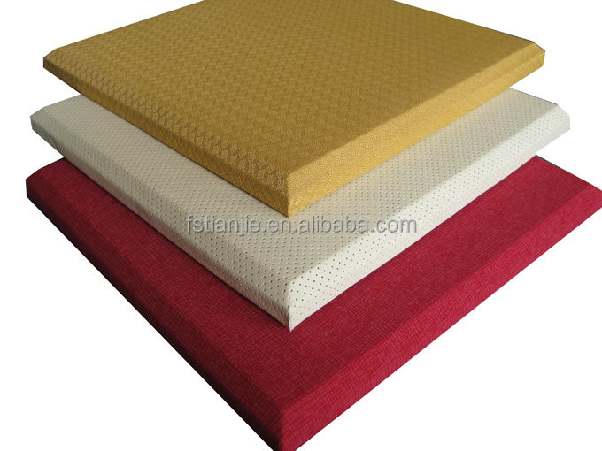 Fabric fiberglass covered interior wall decoration sound insulated material