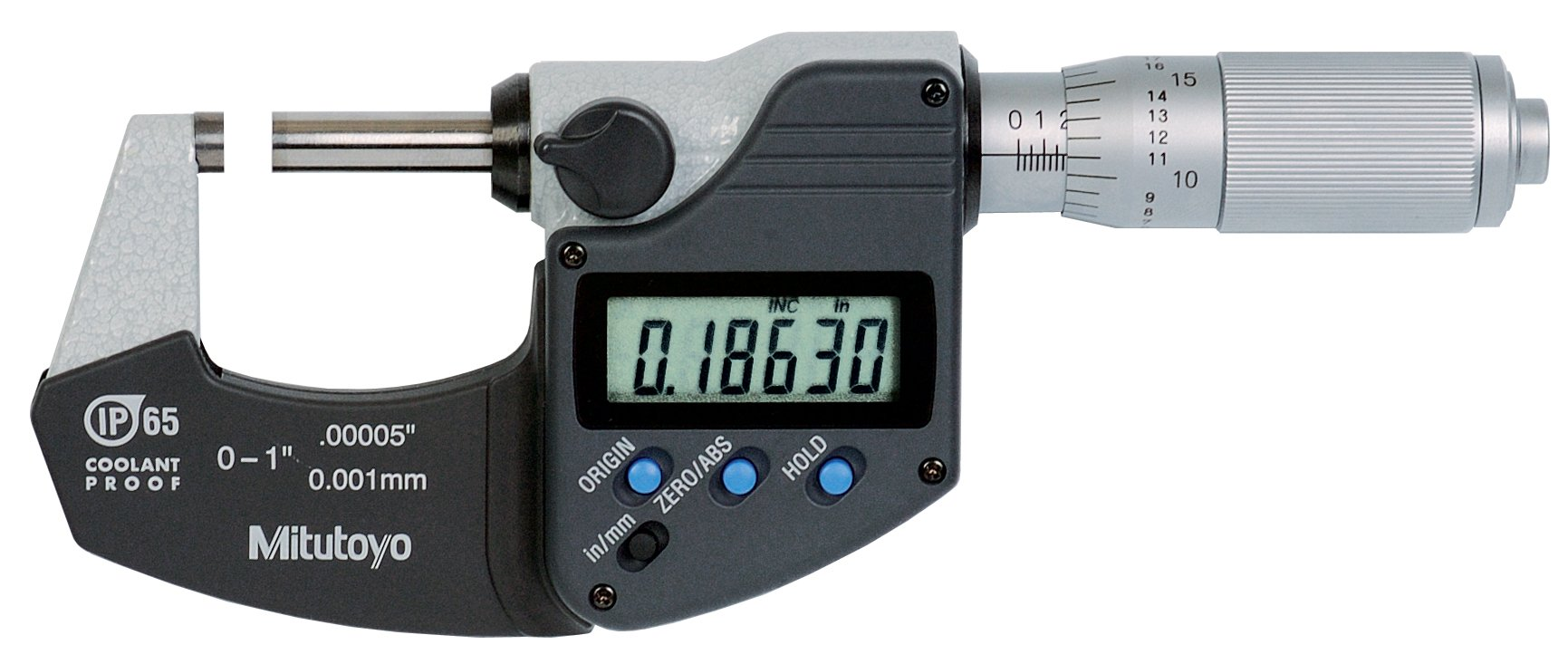 "Mitutoyo 293-348 Digital Outside Micrometer, Inch/Metric, Friction Thimble, 0-1"" (0-25.4mm) Range, 0.00005"" (0.001mm) Resolution, +/-0.00005"" Accuracy, Meets IP65 Specifications"