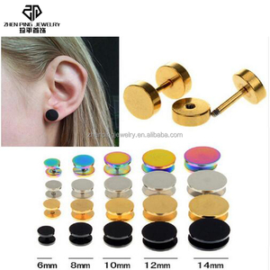 316L Stainless Steel Double Sided Round Bolt Stud Earring Men Women Geometric Gothic Barbell Rock Punk Earrings Jewelry