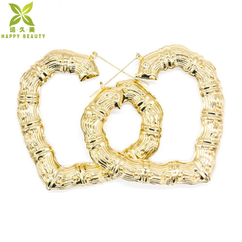 Lucky Jewelry Personalized Name Gold Hoop Heart Bamboo Earrings