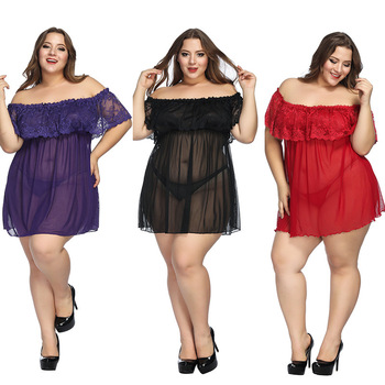 Women's Sexy Lingerie Plus Size Underwear Dress G-String Lace Babydoll Sleepwear Minidress Nightgown