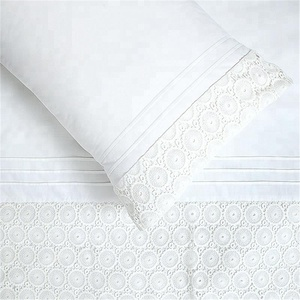 White flower eyelet 3d embroidery bed cover bedding set