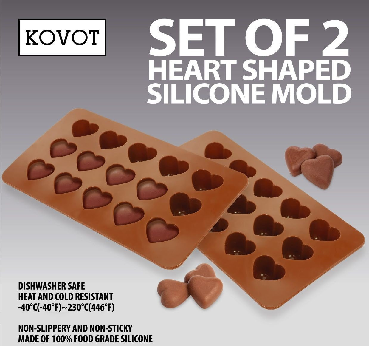 KOVOT Heart Shaped Silicone Molds – Set of 2 – Creates Heart-Shaped Chocolate, Jell-O, Candy or Ice Cubes