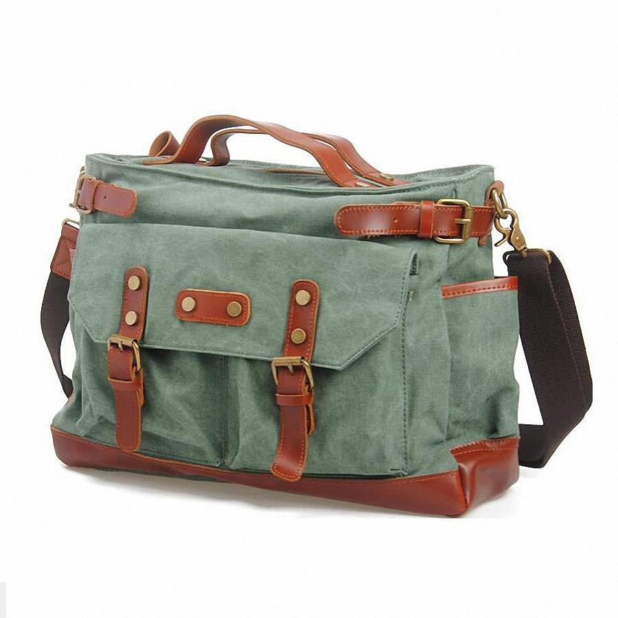 29f9fa8116 Get Quotations · 15inch laptop canvas mens messenger bag 100% genuine  leather Shoulder Bags Men Canvas cross body