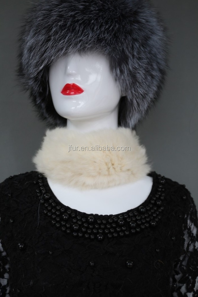 Knitted collar rabbit fur hat ladies knitted scarf