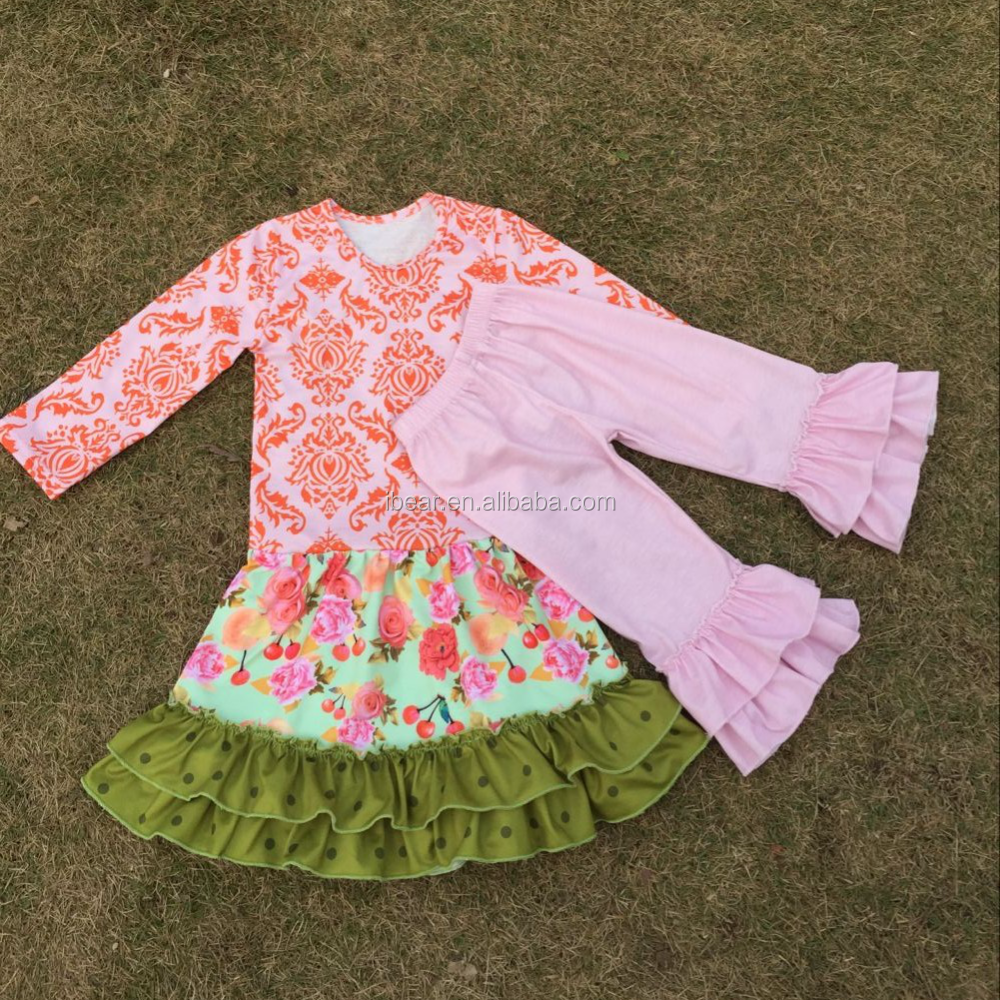 Trendy Boutique Children Clothes Sets Children Clothing Manufacturers China  Brand Name Orange Damask Top&pink Ruffle Pants Sets - Buy Boutique
