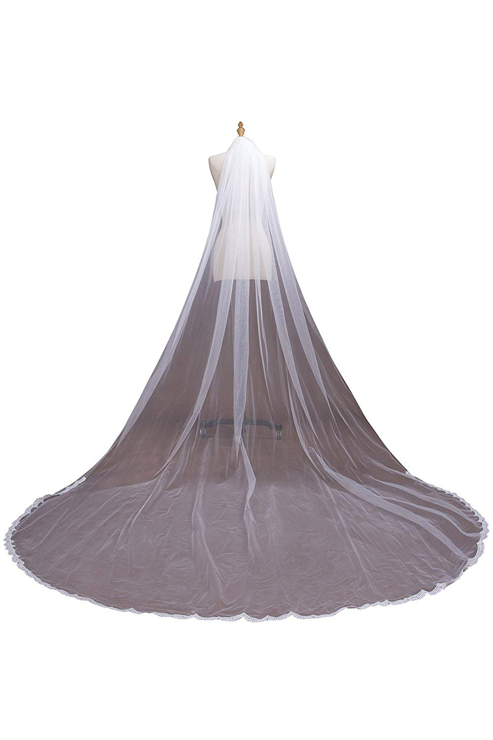 MisShow Women's 1 Tier Cathedral Lace Wedding Bridal Veil with Comb for Bride