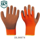 smooth finished black long latex ruff cuff orange inside industry gloves