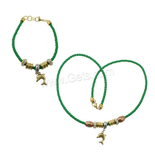 Dolphin Jewelry Sets Refine Stainless Steel bracelet & necklace with Rhinestone Clay Pave & PU plated charm bracelet green