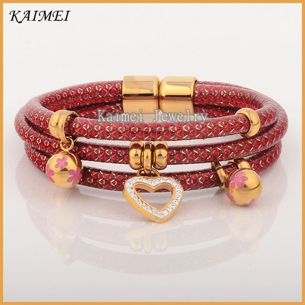 New Products 2016 Luxury Women Fashion Jewelry Multilayer Wraps Leather Bracelet Gold Bangle