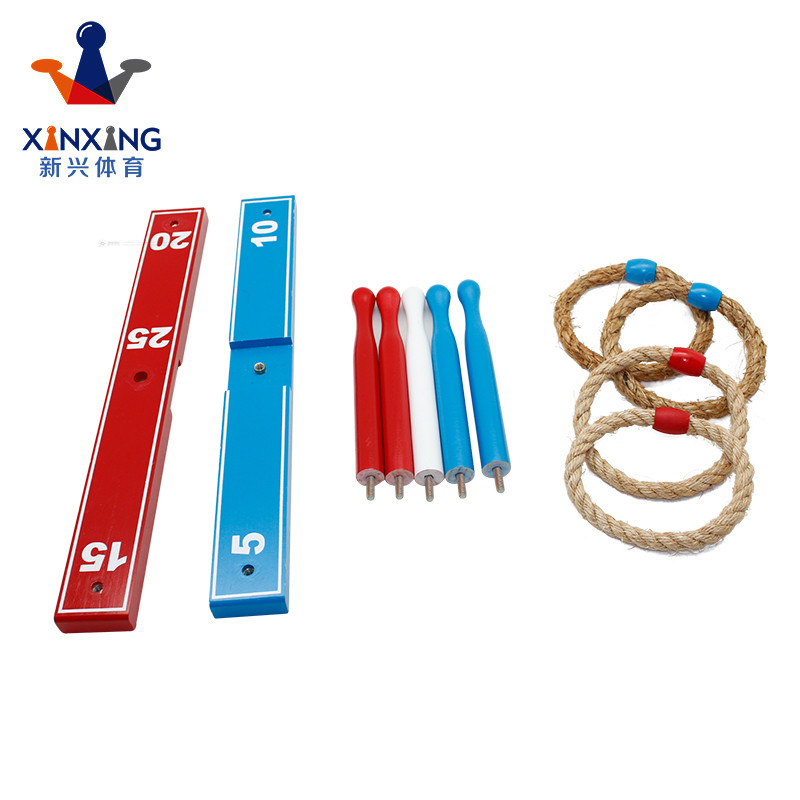 Wooden Ring Toss Game - Kids & Adults Games Set With 4 Quoits Rope Rings, 4 Plastic Rings & Carry Bag