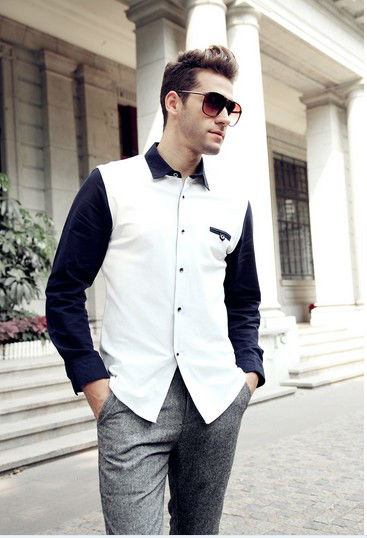 italian dress shirt men design fashion show model