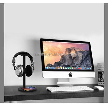 New Design Headphone Desk Stand with Wireless charger funcation for Headset Holder
