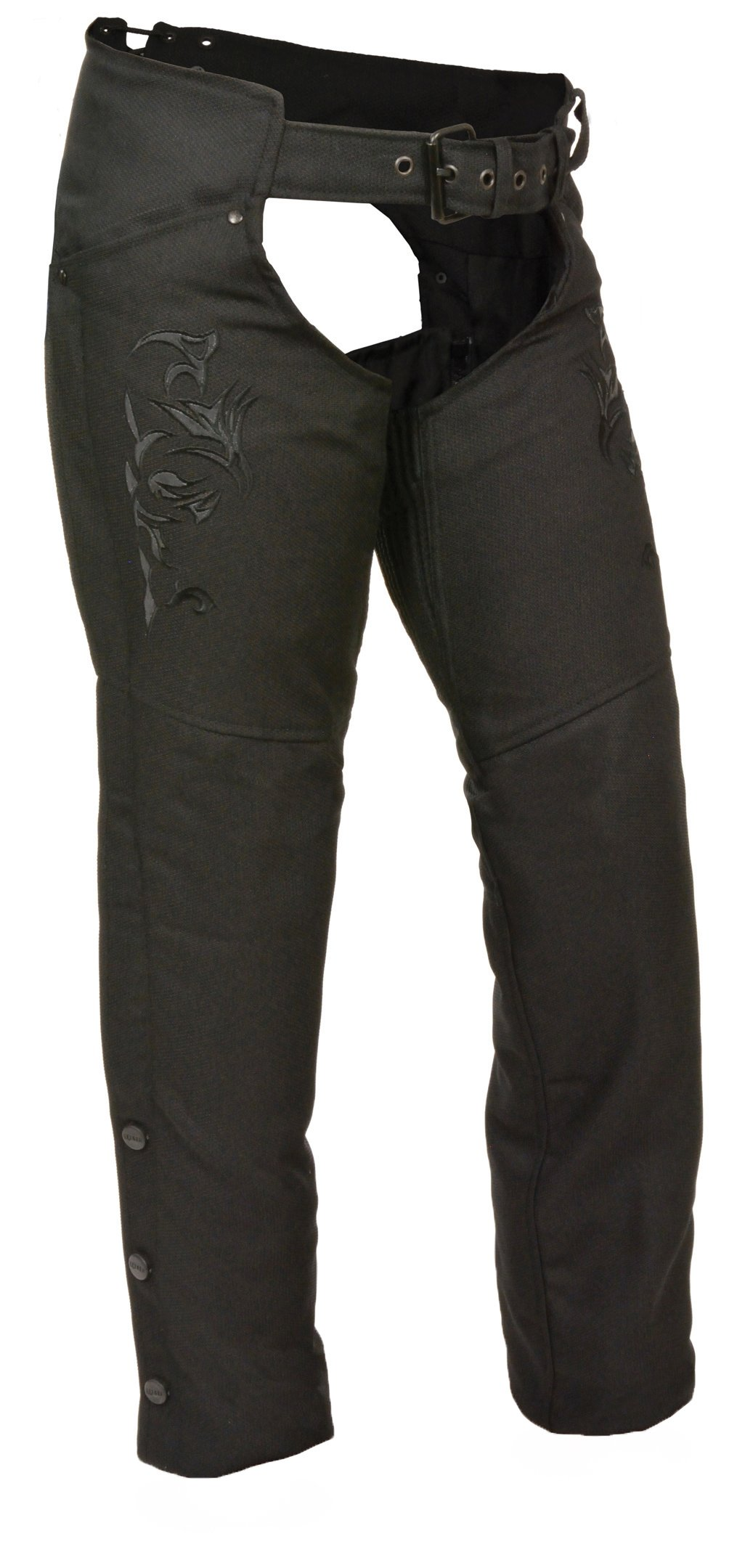 Milwaukee Leather Nylon Womens Chaps Womens Textile Chap Tribal Embroidery / Reflective Detail - Xs - Black Style # SH1182-BLKBLK