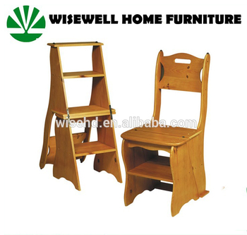 (W C 437) 3 Step Convertible Wood Ladder Chair