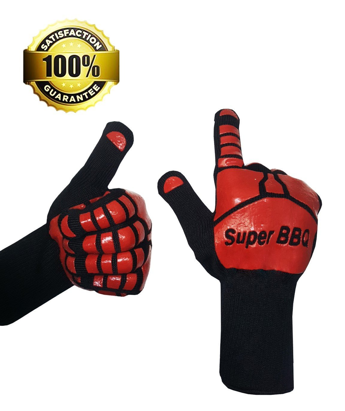 Super BBQ Heat Resistant Cooking Gloves | Baking, Oven & Barbecue Gloves | Fire Gloves For Fireplace & Fire Pit | Use As Grilling Gloves & BBQ Gloves | Smoker, Grill & Kitchen Accessories (2 Gloves)