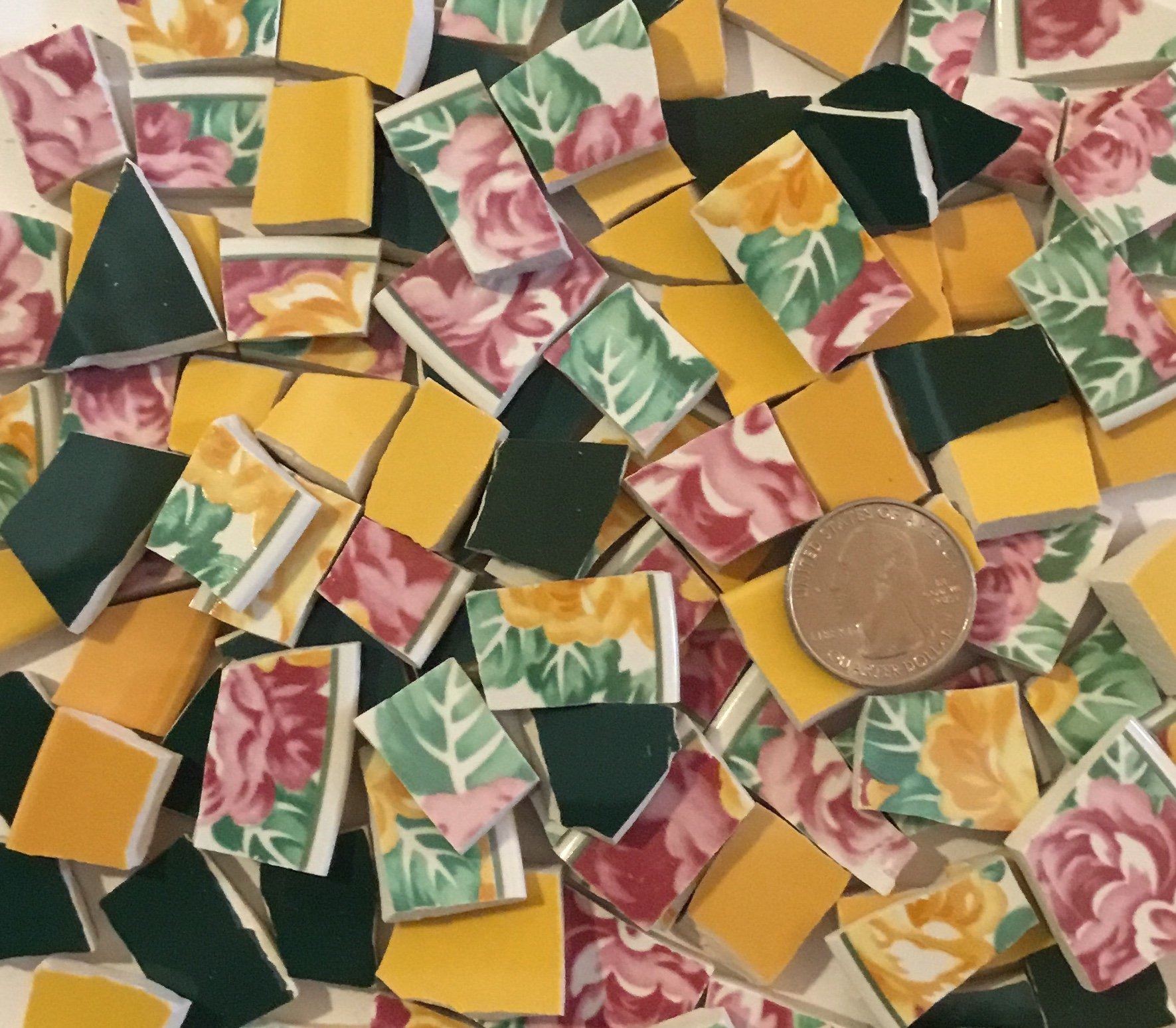 100+ Mosaic Tiles ~ China/Ceramic/Stoneware/Broken Dishes & Plate Pieces ~ Art Supply Tile Made for Mosaics & Craft ~ Pink & Yellow Roses with Color Coordinated Solid Yellow & Green (T#405)