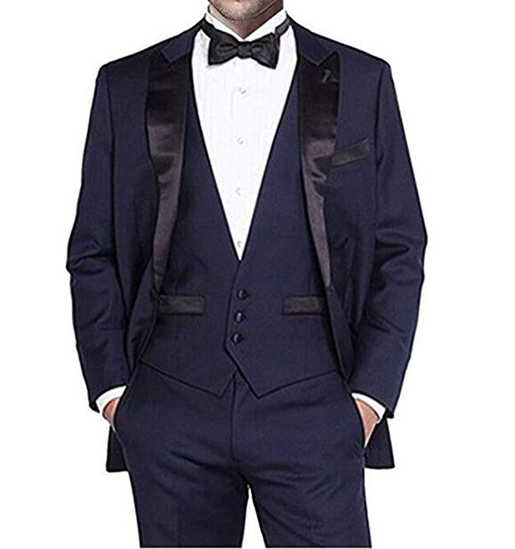 AK Beauty Notch Lapel Dark Blue 2pc Men Suit Casual Fit Suit Business Suit Groom Suit for Men