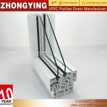 Guangdong Zhongying White Upvc Windows Veka Profile 80# Three Rails ...