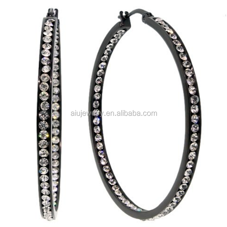 Stainless Steel Black High Shine Inside-Out Hoops Earrings With Crystal