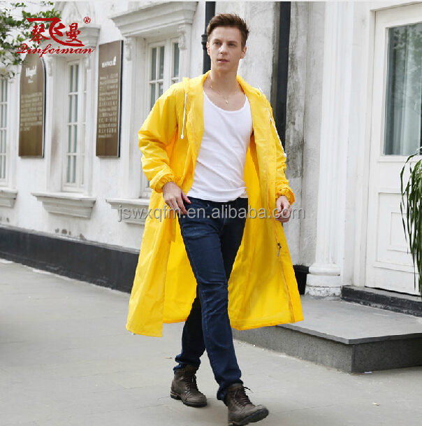 Hooded Long Raincoat For Men Blue Rain Coat - Buy Raincoats For ...